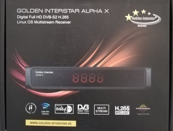 Golden Interstar ALPHA X DVB-S2 H.265 Linux OS CONAX Smart HD Digital Satellite Receiver